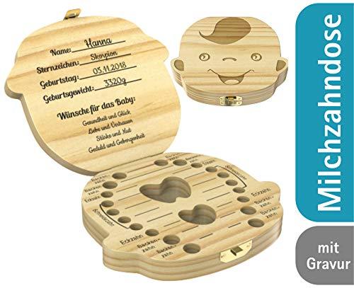Geschenkfreude Milchzahndose mit GRAVUR als Taufgeschenk - Zahndose für Jungen & Mädchen aus Holz- Zahnbox individuell mit Namen graviert