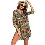 LOKKSI - Traje de baño para mujer con camisa de baño para playa, vestido de playa, estilo bohemio, kimono, camisa larga, bikini, ropa de playa, vestido de baño