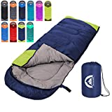 Sleeping Bag 3 Seasons (Summer, Spring, Fall) Warm & Cool Weather - Lightweight,Waterproof Indoor & Outdoor Use for Kids, Teens & Adults for Hiking,Backpacking and Camping (Blue Green, Single)