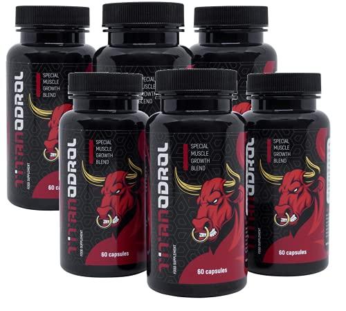 TITANODROL Premium, 6 paquetes, aumenta los niveles de testosterona y hormona de crecimiento, rápido crecimiento muscular, rápida quema de grasa, sin esteroides, ¡sin efectos secundarios!