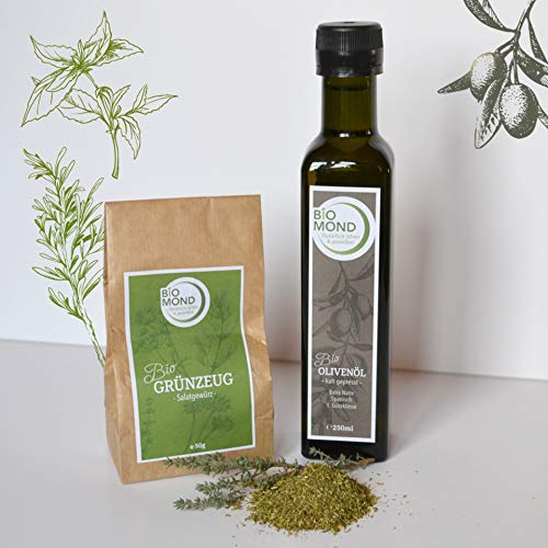 Geschenk-Set Feinkost BIO Vegan GRÜNZEUG *Jetzt haben Sie den Salat*: - 1 x Bio Olivenöl nativ, 1 x Bio Salatgewürz *Grünzeug*