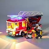 Juego de luces LED de para Camión de Escalera de Bomberos de la Ciudad Modelo de Bloques de Construcción, Conjunto de Luces Lluminación Compatible con Lego 60107 (Modelo Lego no incluido)