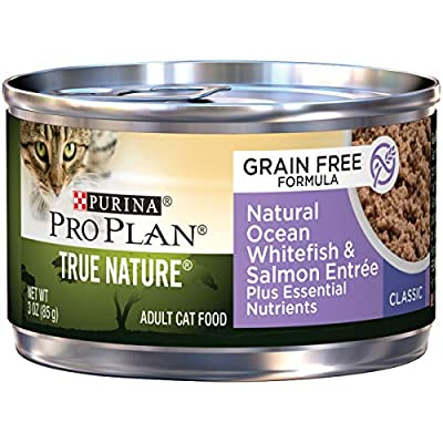 Purina Pro Plan Natural, Grain Free Pate Wet Cat Food, TRUE NATURE Ocean Whitefish & Salmon Entree - (24) 3 oz. Pull-Top Cans