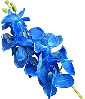 jiumengya 5pcs Blue Color Phalaenopsis Butterfly Moth Orchid 8 Flower Heads/Piece Orchids for Wedding Decorative Artificial Flowers (Blue)