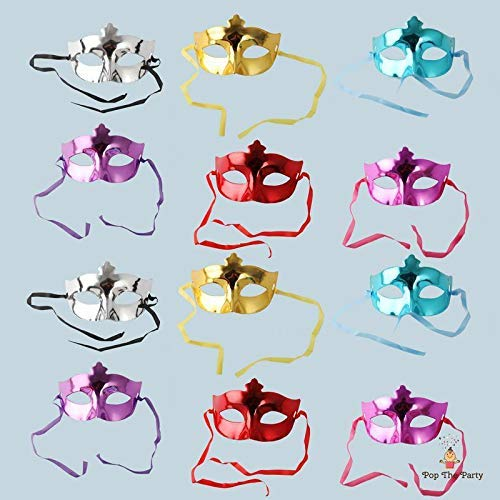 Pop the Party Masquerade Masks for Bachelor Party, Adult Party for Men and Women Masquerade Mask(Pack of 12)