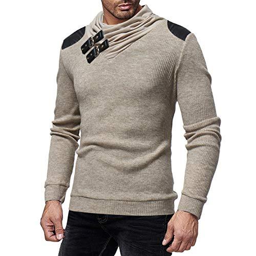 Suéter para Hombre Pullover Hebilla de Cuero Cuello Decorado Costura Tendencia Europea y Americana Color Liso Jersey cálido Delgado