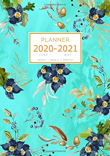Planner 2020-2021: A4 Large Notebook Organizer with Hourly Time Slots | June 2020 to May 2021 | Marble Oak Floral Design Turquoise