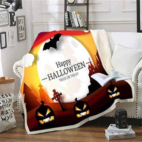 LILANG Manta Manta Gruesa cálida para Cama Flores súper Suaves Cráneo Feliz Halloween Toalla de Playa para niños Manta de Verano 100x150cm