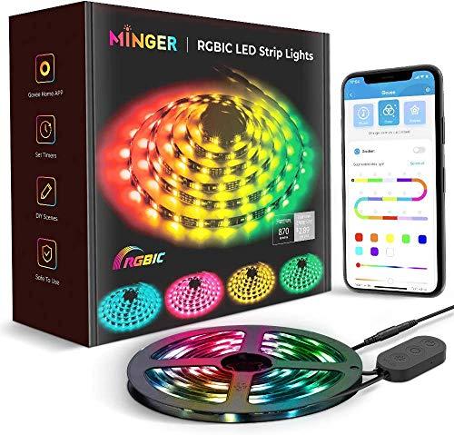 Striscia LED Minger Dreamcolor da Sogno con APP, Minger 5m Luci Musicali a LED Strip Sync a Luce Corda 5050 Impermeabile Nastri Led Illuminazione a Strisce Flessibile per Interni Esterni