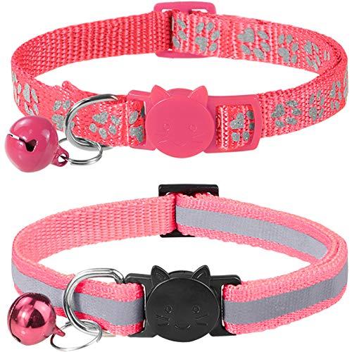 Taglory Reflektierend Katzenhalsband mit Sicherheitsverschluss und Glöckchen, 2-Stück Verstellbar Halsband Katze Kitten, 19-32cm Rosa