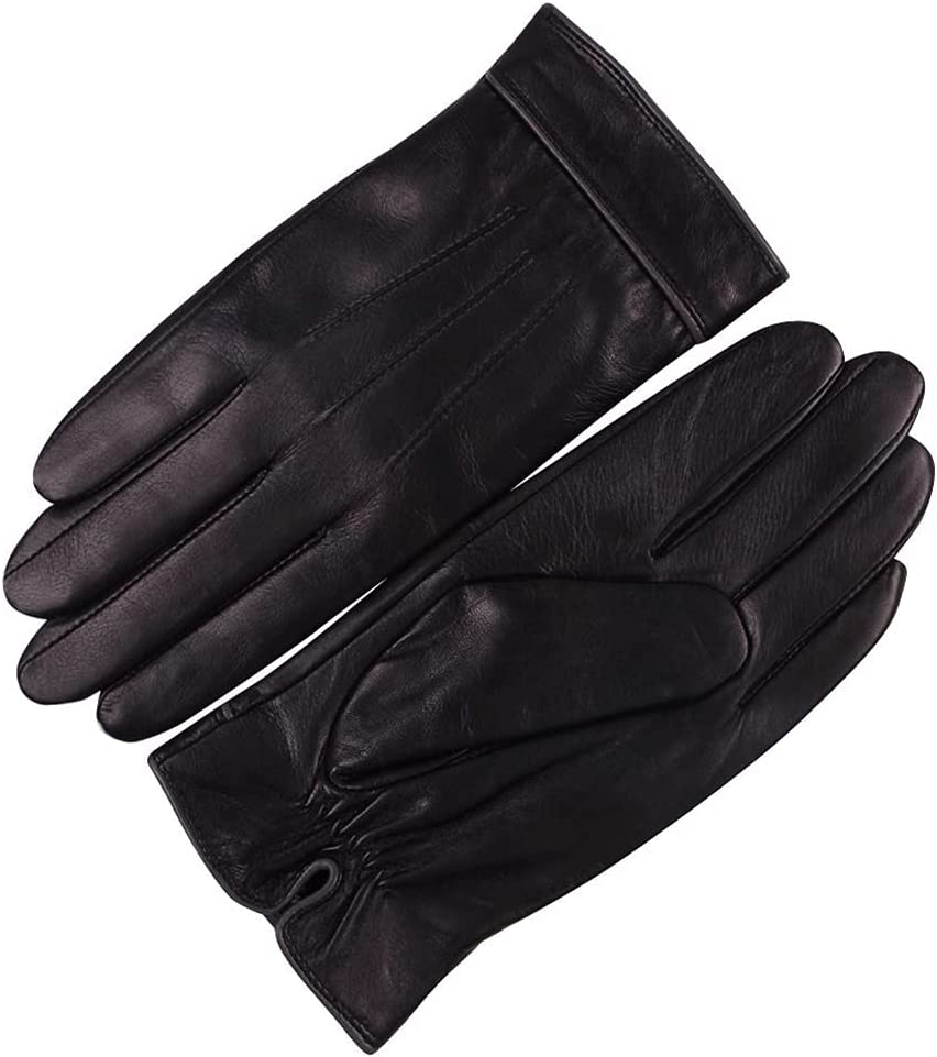 Kioiien Sheepskin Leather Gloves for Men Women Winter Warm Motorcycle Driving Touch Screen Mitten Texting Typing Windproof and Waterproof Cycling Driving Gloves (Size : 9.2cm)