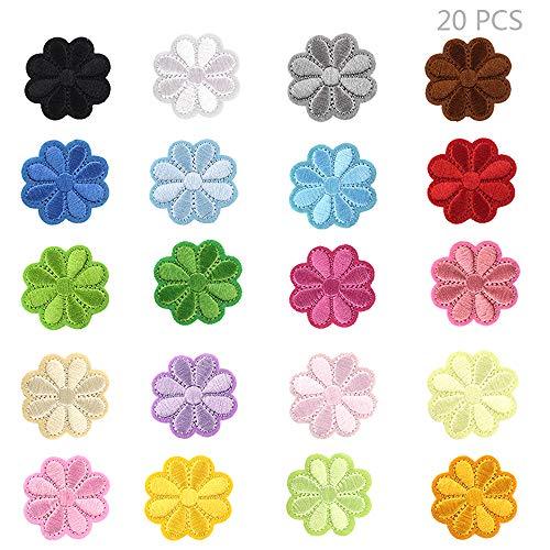 Juland 20PCS Sun Flower Bestickte Patches zum Aufbügeln mit Hitze oder zum Aufnähen Gestickte individuelle Rucksack-Aufnäher für Männer, Frauen, Jungen, Mädchen, Kinder