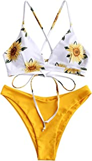 Women Braided Straps Lace Up Bikini Set Bralette Swimsuit Flower Bathing Suit