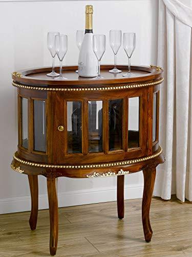 SIMONE GUARRACINO LUXURY DESIGN Mesita Bar Coloniale Oval Mesa licorera Estilo Inglese Color Nogal Detalles Hoja Oro