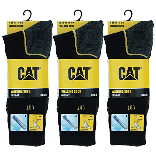 Caterpillar 3 Pares Calcetines Trabajo, Resistentes, Coolmax, All Weather (Negro, 43-46)