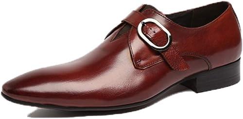 YCGCM zapatos De Cuero para hombres zapatos De Vestir De Negocios zapatos De Boda,rojo-marrón-41