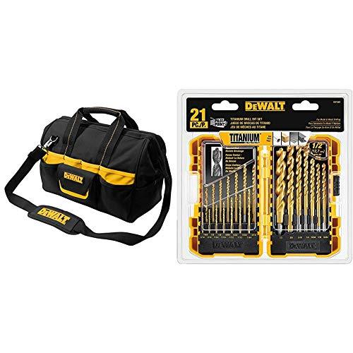 DEWALT DG5543 16 in. 33 Pocket Tool Bag, Black & DEWALT Titanium Drill Bit Set, Pilot Point, 21-Piece (DW1361)