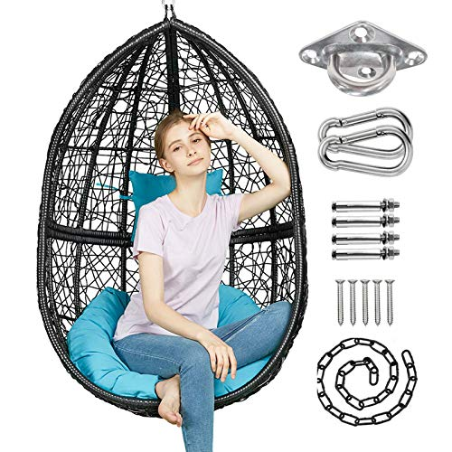 GREENSTELL Hammock Chair with Hanging Kits, Cushion & Pillow, Egg Large Rattan Wicker Swing Hanging...