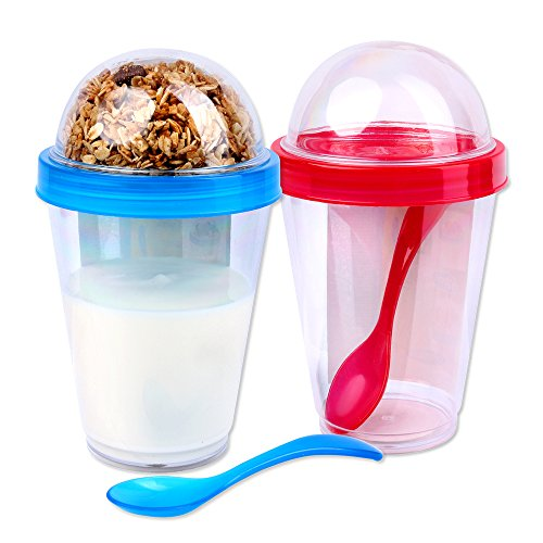 Schramm® 2 Stück Joghurtbecher to go Müsli-to-Go 4- farbig Sortiert Müslibecher inkl. Löffel Müslischale Joghurt Becher Müslibehälter Joguhrtbehälter für unterwegs 2er Pack
