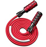 TBSDQLTEV Weighted Jump Rope for Workout Fitness - Tangle-Free Rapid Speed Skipping Rope Adult with Soft Foam Handles, Adjustable Length Fabric Cotton Exercise Rope