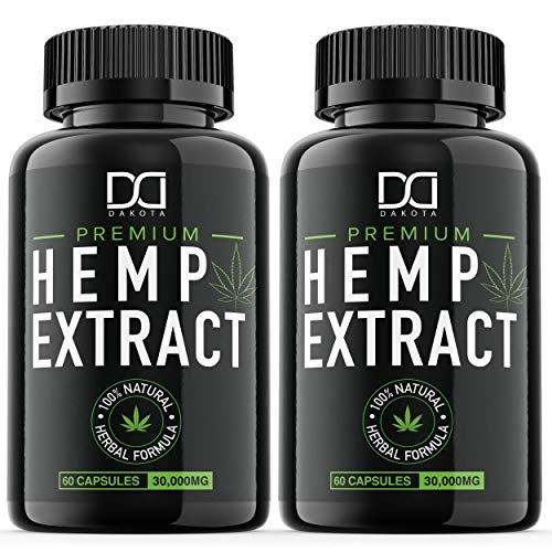 (2 Pack) Hemp Oil Capsules 30000MG for Pain Relief Anxiety Sleep Mood Immune - Best Natural Organic Hemp Seed Oil Powder Extract, Omega 3 6 9