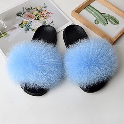 COQUI Zapatillas de Verano de Mujer,Primavera y Verano Nuevas Zapatillas Europeas y Americanas Zapatillas de Piel Zapatillas de Piel 貉子-Cielo Azul_38-39