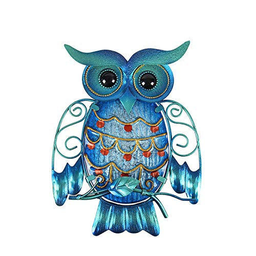 Sculptures Gift, Metal Owl Wall Animal Miniatures Garden Decoration Outdoor Statues and Accessories Sculptures Statue,Blue