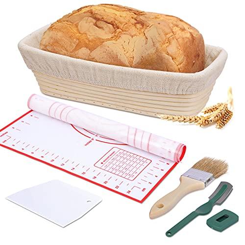 juehu Banneton Pan Cesta,Fermentación Canasta de Prueba de Pan pan casero Oval Cuenco Tazón de Ratán Natural kit panadero con Forro de Lino,Cepillo,raspador,Cuchilla de Pan(30x14×8cm)