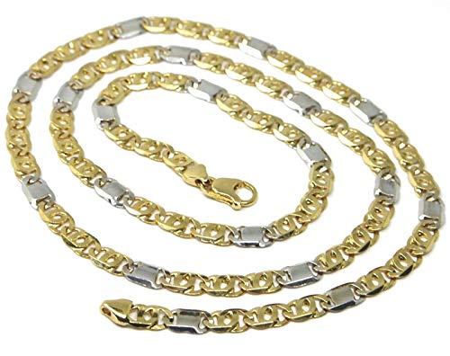 Cadena sólida de oro amarillo y blanco de 18 quilates, ojo de tigre alternado 3 + 1 plano, grosor 5,5 mm, longitud 50 cm, 20 pulgadas