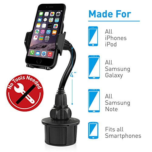 GPS etc Samsung Galaxy S9 S8 S7 Edge S6 S5 Note 5 Leagway Adjustable Cup Holder Phone Mount Compatible with iPhone X 8 8+ 7 7 Plus 6s 6 Plus 5S Car Cup Holder Google Moto Huawei LG Smartphones