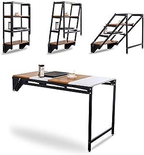 L&M Table de Salle à Manger multifonctionnelle, au Sol, Murale et Pliante, Peut être transformée en Une étagère de Rangeme...