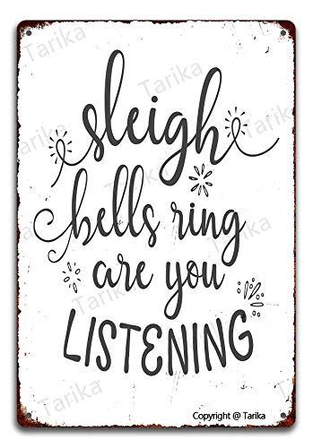 Cartel de metal con diseño de campanas de trineo con texto en inglés 'Are You Listening', 20 x 30 cm, aspecto vintage, decoración para la pared