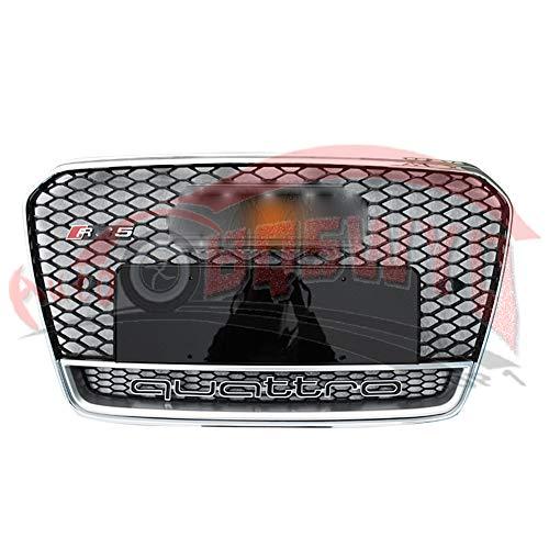RS5 estilo barbacoa parrilla parrilla delantera más fresco para el tope A5 S5 2013 2014 2015 2016 Frente Deporte anillo de marco cromado parrilla cromada 2012 Hex malla de nido de abeja de la capilla