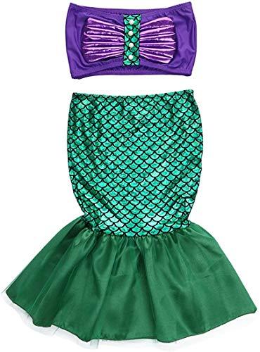 WangsCanis Traje de baño de sirena para niña, 3 piezas, bikini con cola de sirena para playa, piscina y playa Viola+verde (2 Pezzi) 6-7 Años