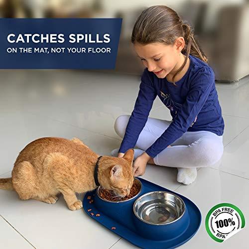 Bonza Doppel Hundenapf Hundefutterstation, Edelstahl-Wasser-und Futternäpfe mit Spill und rutschfeste Silikon-Basis. Premium Quality Feeder Lösung für kleine Hunde und Katzen (Marineblau) - 2