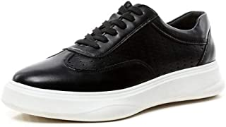PengCheng Pang Fashion Sneakers for Men Low Top Skate Shoes Lace up Microfiber Leather Patchwork Solid Color Hollow Out Round Toe Anti-Skid (Color : Black, Size : 7.5 UK)