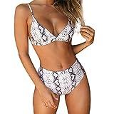 Bikini Imprimé Serpent Femme, Maillot De Bain 2 Pieces Mode Sexy Taille Haute Deep V Cou Culotte Triangle Pas Cher (Gris, S)