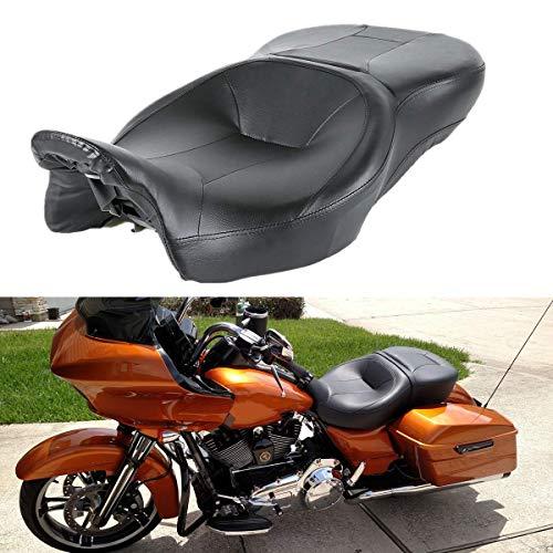TCT-MT Rider Passenger Seat Fit For Harley Touring Road King FLHR Street Glide FLHX 2009-2020; Road Glide FLTRX CVO Street Glide FLHXSE 2015-2020; Electra Glide Ultra Classic FLHTCU 2014-2019 Black