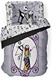 Disney Nightmare Before Christmas Gothic Romance Twin Comforter & Sham Set - Super Soft Kids Reversible Bedding Features Jack Skellington & Sally - Fade Resistant Microfiber (Official Disney Product)