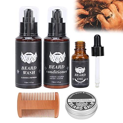 Kit para el cuidado de la barba, sin picazón ni irritación El kit acondicionador para lavar la barba humecta de forma segura y suave con equipo profesional para el cuidado de la barba