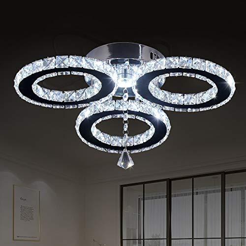 Lámpara LED de techo colgante de cristal de 33 x 9,5 cm, 3 anillas, lámpara de araña de cristal, accesorio de iluminación para dormitorio, hobby, sala de estar (blanco frío)