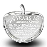 Bella Busta- 4 years anniversary-Traditional Fruit gift for 4th Anniversary-Engraved Crystal Apple (Crystal Apple)