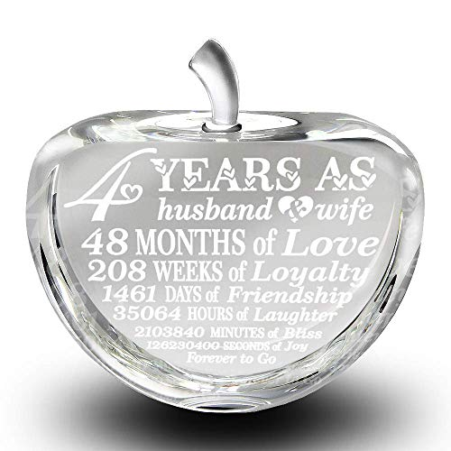Bella Busta- 4 years anniversary-Traditional Fruit gift for 4th Anniversary-Engraved Crystal Apple...