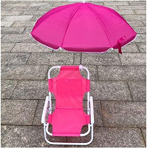 FCPLLTR Sedia pieghevole per bambini con ombrello di protezione UV, spiaggia all'aperto reclinabile Sunloungers Pieghevole Pieghevole Poltura multifunzionale Sedie a sdraio portatile per bambini, rosa