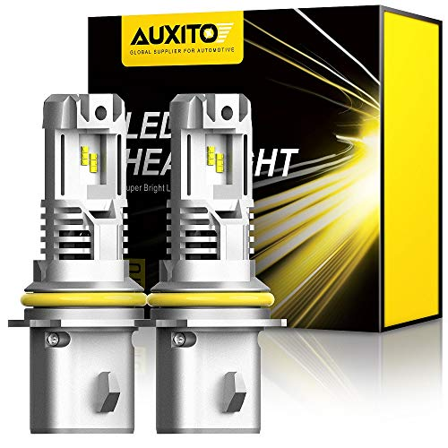 AUXITO 9007 LED Headlight Bulbs, 12000LM Per Set 6500K Xenon White Wireless HB5 High Low Beam Headlight Hi/Lo, Pack of 2