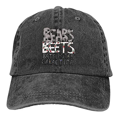 Bears Beets Battlestar Galactica Gorra de béisbol para hombre al aire libre Deportes y Ocio Gorra de vaquero ajustable Performance Cap Negro