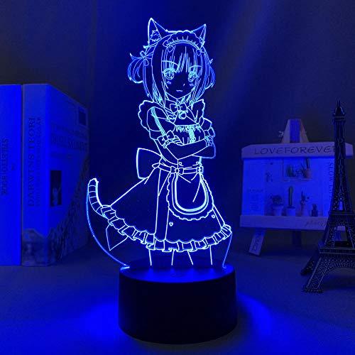 Primer día ofertas 2021 anime nekopara azuki llevó la noche luz dormitorio decoración regalo cumpleaños noche luz Mange Waifu mesa 3D luz Nekopara ERJIE