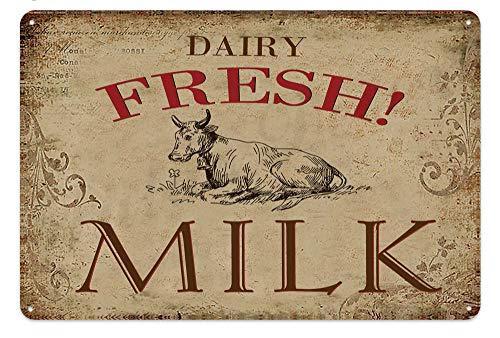 Plaque en métal avec inscription « Milk Farm » - Rétro - 20,3 x 30,5 cm