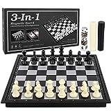 BeebeeRun 3 en 1 Jeu d'échecs Magnétique,Pliable Échecs de Voyage Set pour Enfants et Adultes Conseil Jeu