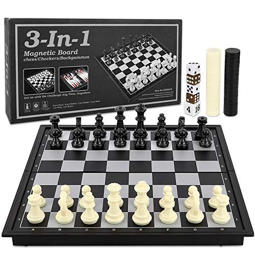 BeebeeRun 3 in 1 Schachspiel Reiseschach Magnetisch,Einklappbar Taschenschach Schachbrett für Kinder und Erwachsene Lernspielzeug